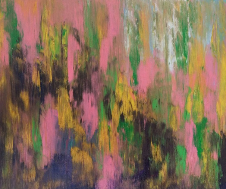 Abstraction Summer memories, original oil painting, 60×50 cm, FREE SHIPPING / yellow / pink / brown / green - Image 0