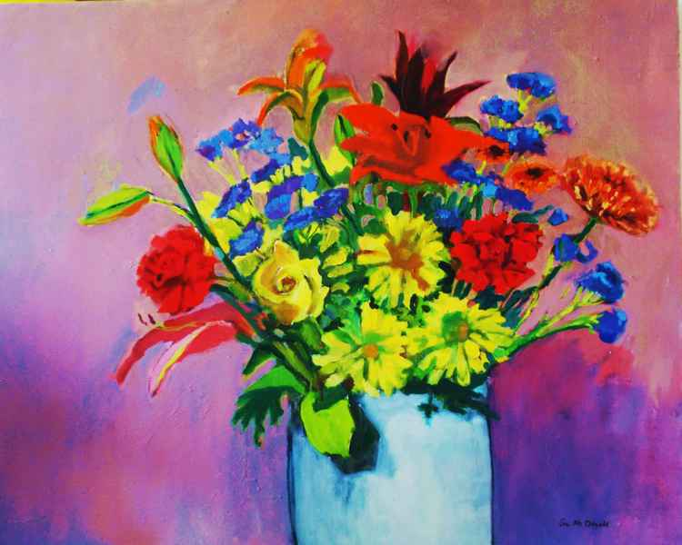 Flowers in White Vase II/FREE SHIPPING