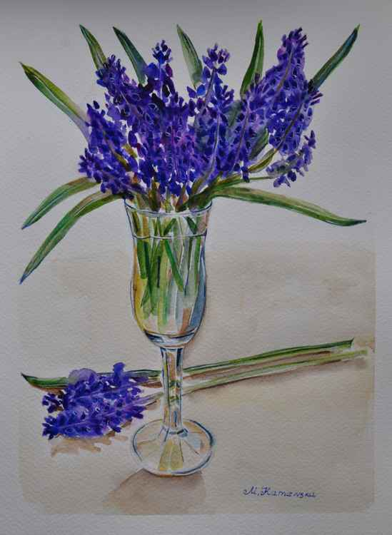 Watercolor Still life with violet flowers in a wine glass -
