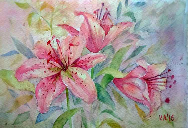 Watercolour lilies -