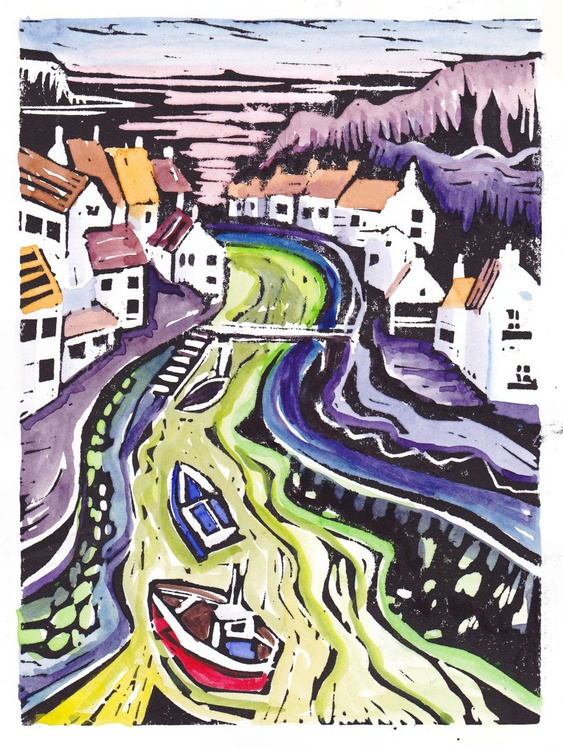 Staithes - hand coloured lino print - Image 0