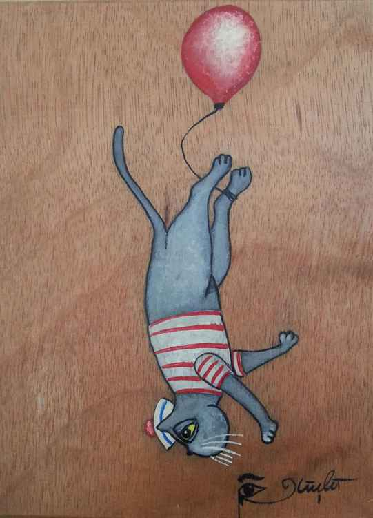 Sailor Cat with a Balloon