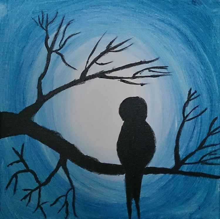 Bird at moonlight - Swallow at full moon - silhouette painting -
