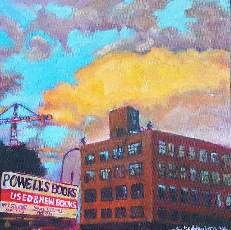 Looking up at Powell's Books in Portland, Oregon (aka dramatic sky)