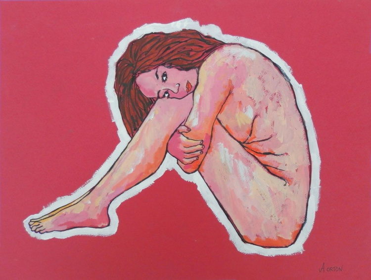 Female Nude Figure Study Acrylic Painting On Paper - Image 0
