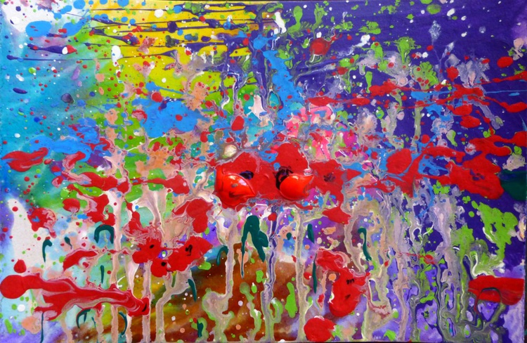 the smell of poppies. original abstract painting 30x20 cm - Image 0