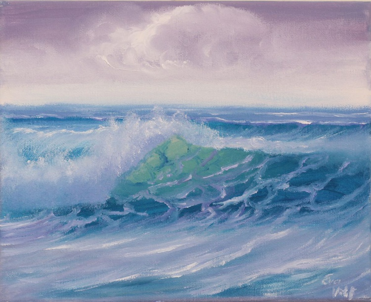 """Ocean Waves II 8x10"""" small seascape oil painting on canvas - Image 0"""