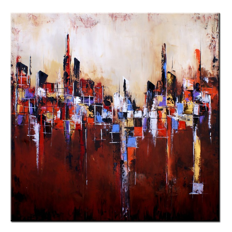 """""""DESERT TEMPLES"""" 48"""" Large Abstract Earthtone Art Painting, Original Contemporary modern Blues,Reds,Browns, Gold, Pallete Knife - Image 0"""