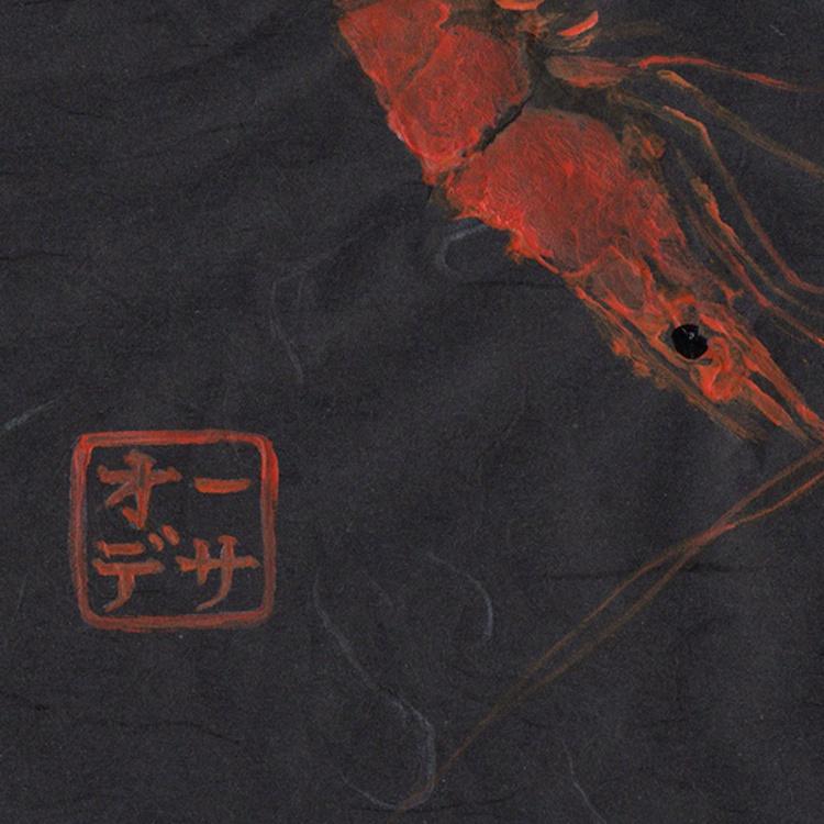 Shrimp Gyotaku (Fish Rubbing) Heart Shaped on Black - Image 0