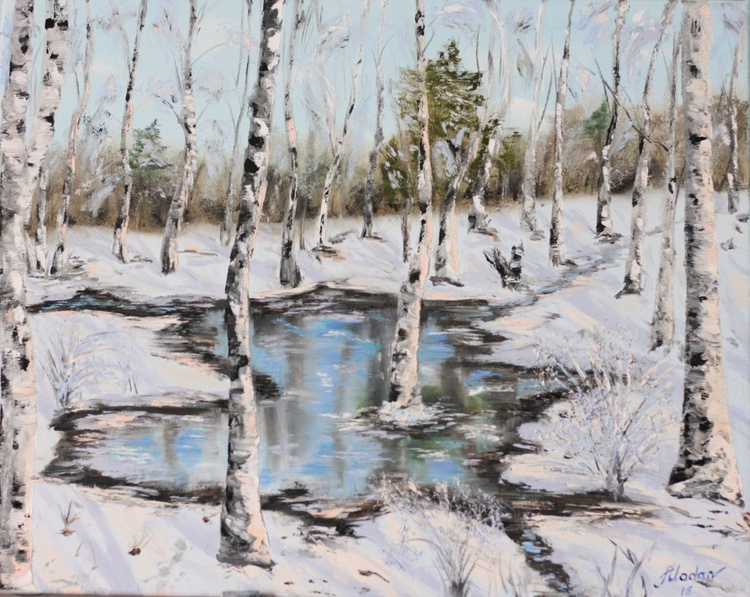 Puddle in winter forest - Image 0