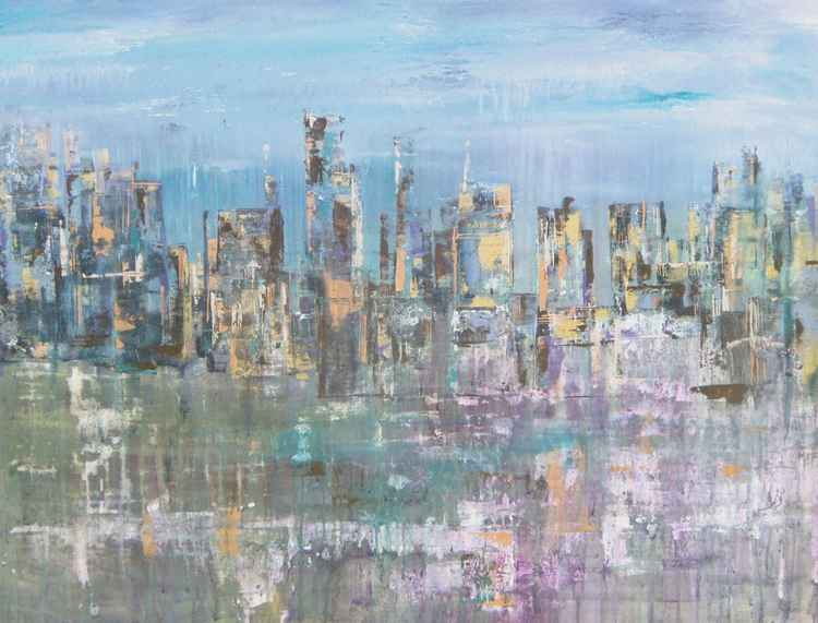 The City Awaits - Large Canvas Soft Cool Palette Cityscape -
