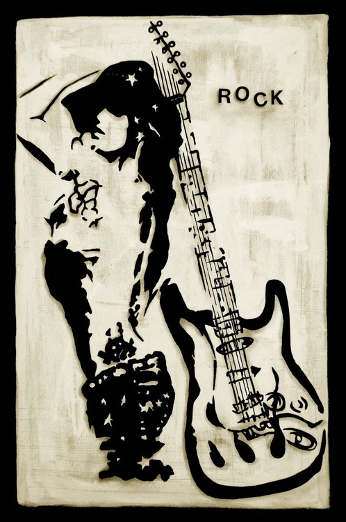 Rock Star - Original Abstract painting Modern pop Guitar Art Contemporary by Fidostudio - Image 0