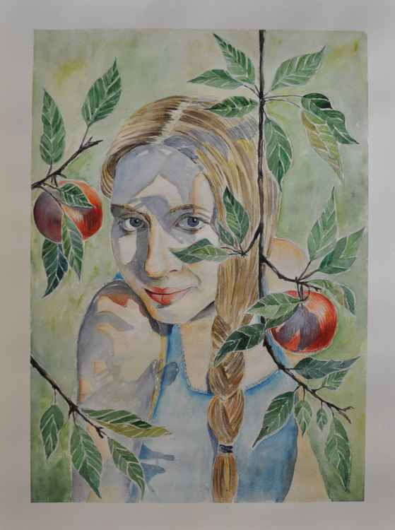 Original one of a kind watercolor artwork - The girl under the apple tree