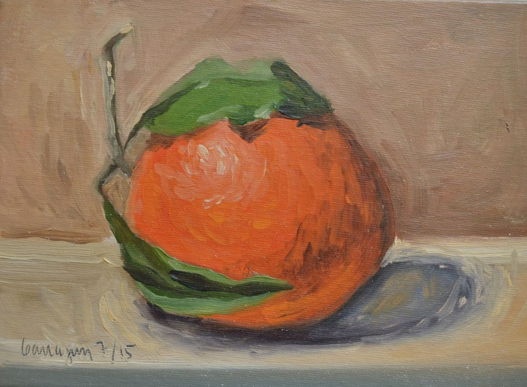 My Big Fat Orange Fruit Still Life Oil Painting - Image 0