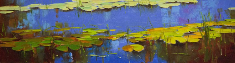 Water lilies Original oil Painting Large size Handmade artwork - Image 0