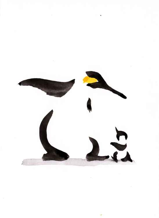 Penguin and a chick 1318A
