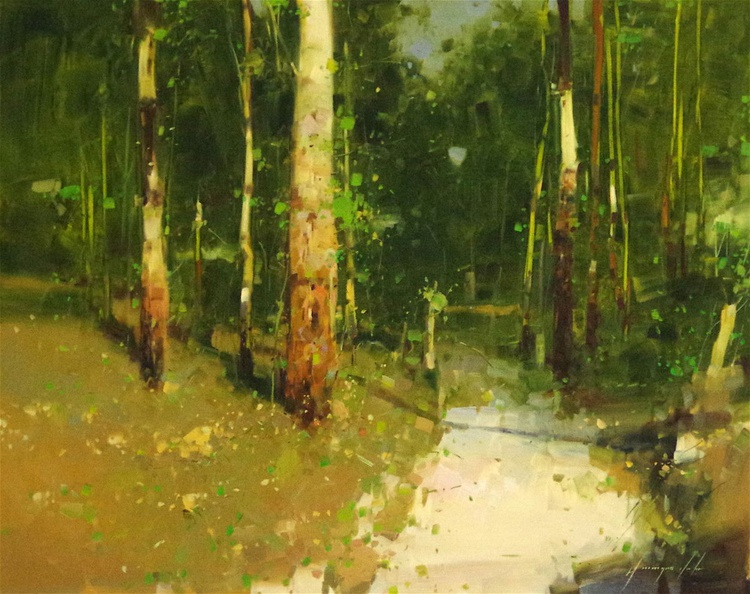 Forest Path Landscape oil painting,  One of a kind, Signed, Hand Painted - Image 0