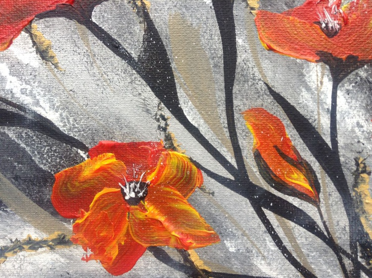 Red Poppies in a Gold Frame - Image 0