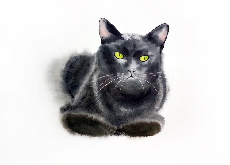 Black cat - Original Watercolor -  Black Cat art - Black Cat Painting - Black Cat wall decor - Cat owner gift - Image 0