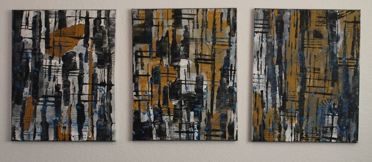 FRETS  TRIPTYCH- abstract - each piece is 16 x 20 - Image 0