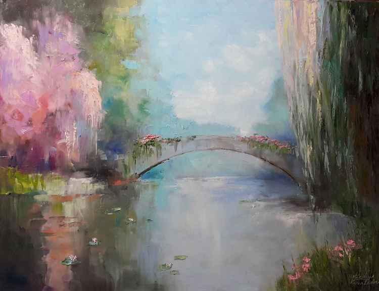 "painting  ""Созерцая тишину"" Oil on canvas 90х70 cm"
