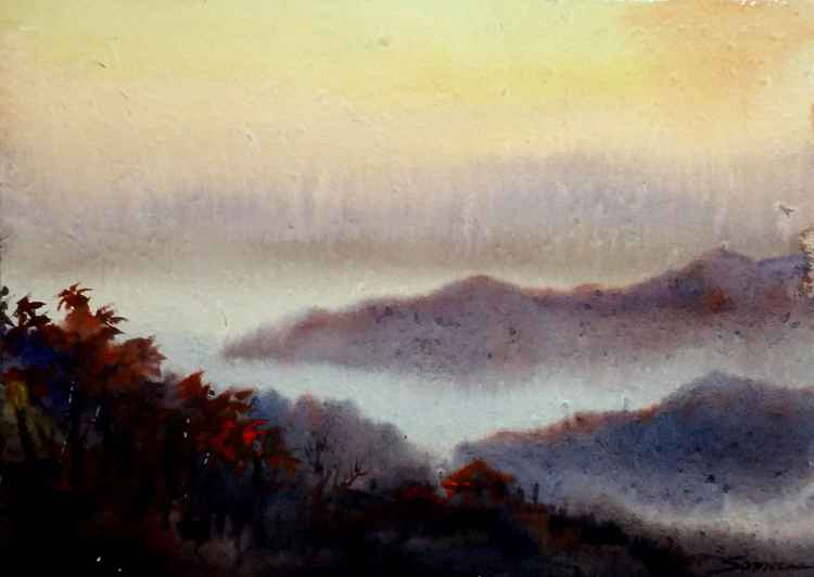 Sunset Mountain - Watercolor on Paper -