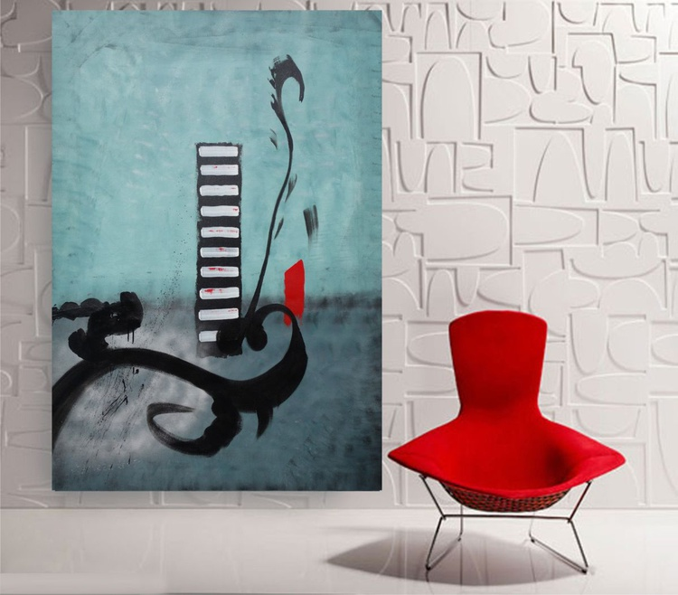 Large teal abstract painting 110×160 cm acrylic on unstretched canvas J14 art original artwork in japanese style - Image 0