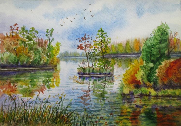 All paints of autumn - watercolor landscape - Image 0