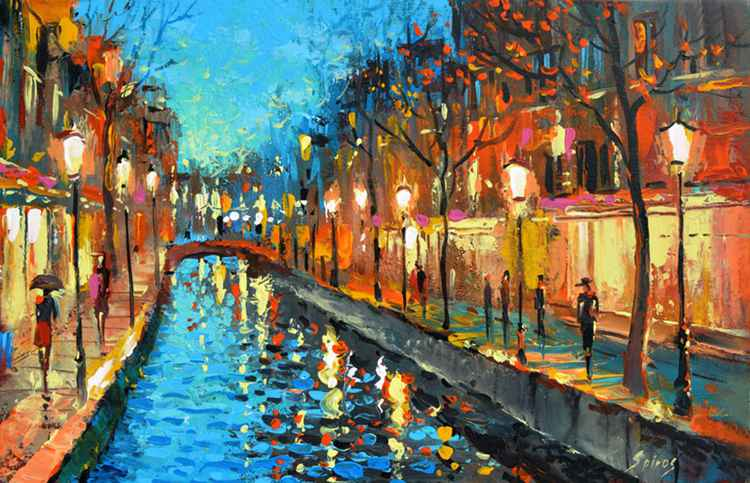 Alley of lovers - Originaloil oil palette knife on canvas painting by Dmitry Spiros 35cm x 55cm.