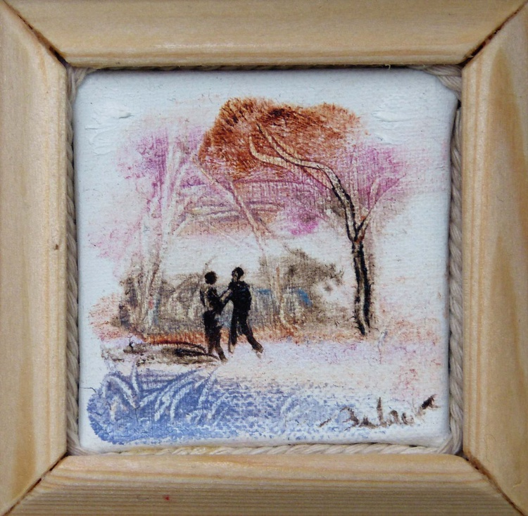 Exchanging local news, miniature oil painting on canvas 7x7 cm framed and ready to hang - Image 0