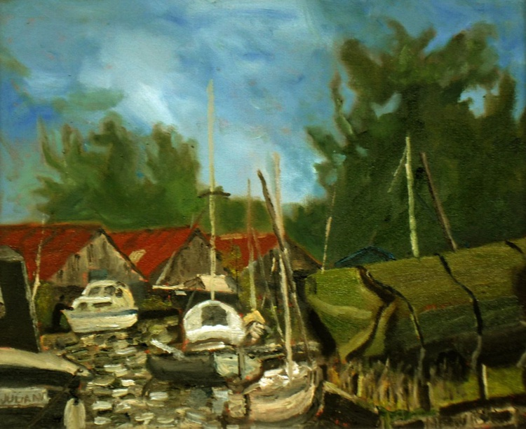 Red Roofs at Hickling Staithe, in the Norfolk Broads. An original Oil Painting! Lovely Gift! - Image 0