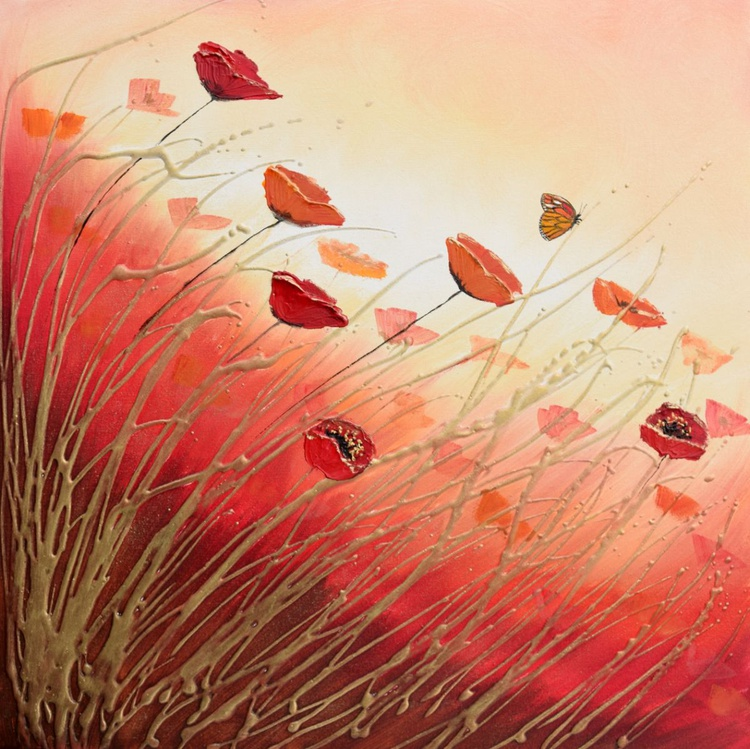 Butterfly and Poppy Flowers - Image 0