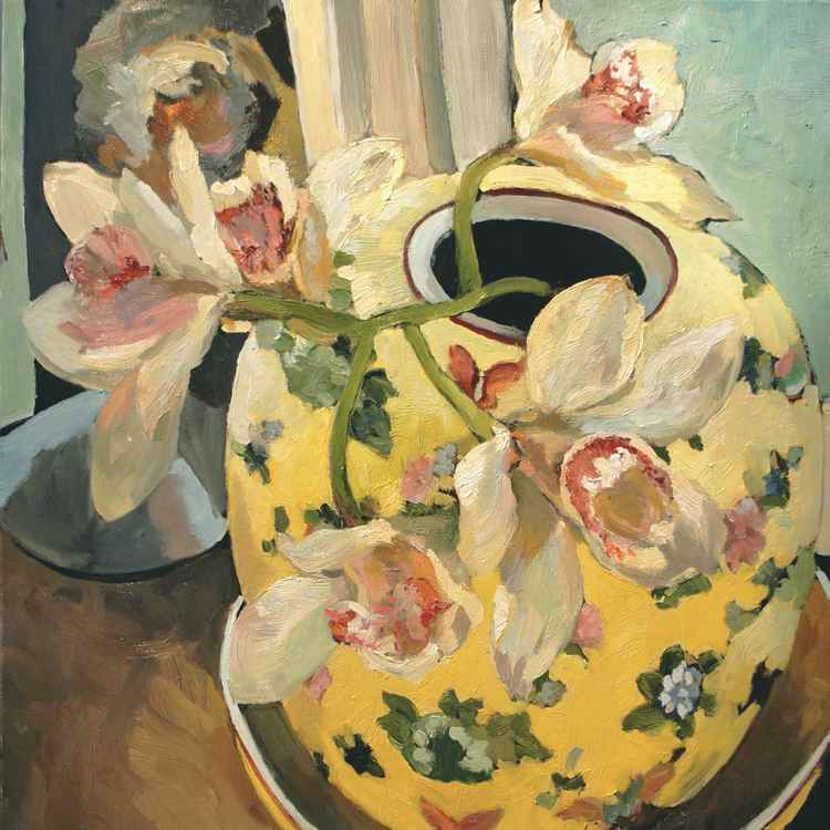 Orchids in Yellow Vase -
