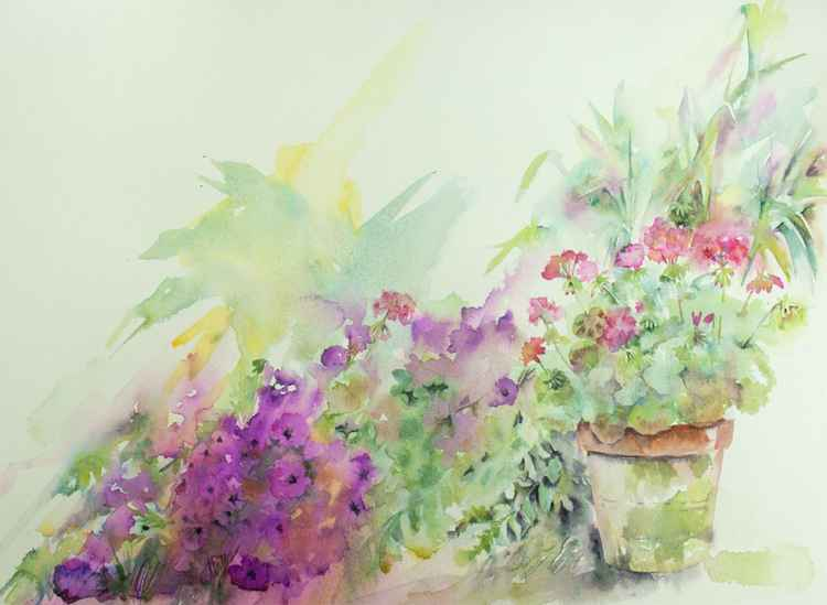 Little Garden Haven -Watercolour Painting, Garden Scene, Landscape -