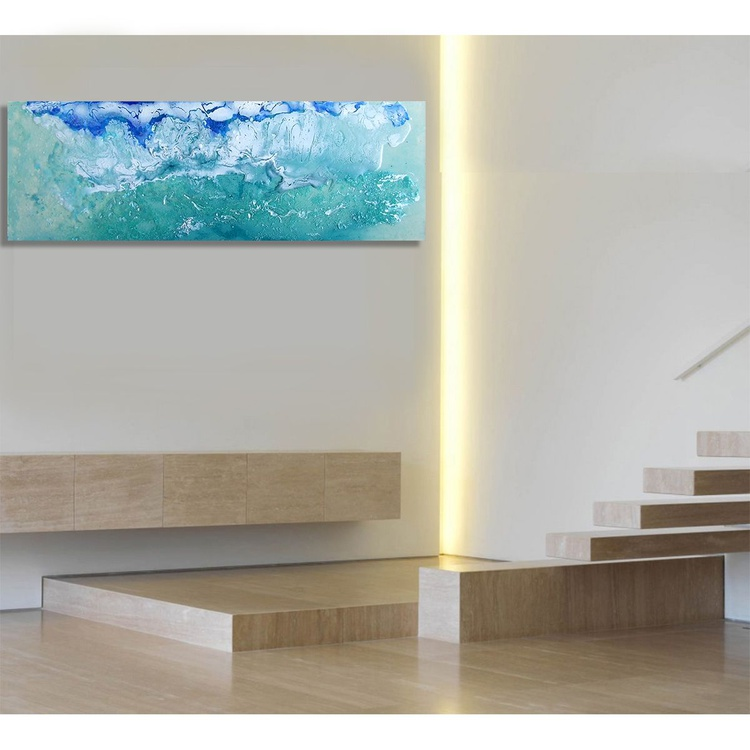 Waves IV / 76 cm x 26 cm Abstract Modern Office Art - Image 0