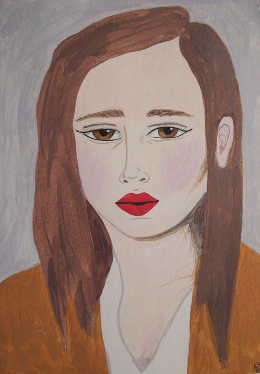 Girl in a Mustard Cardigan - Image 0