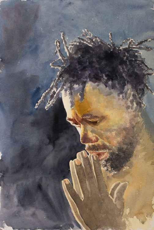 """PRAY"", original watercolour painting, 15.2""x22.8""(38x57cm)"