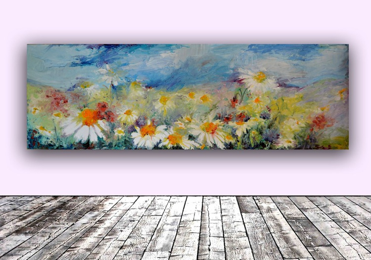 Daisies Spring Field FREE SHIPPING Europe - Big, Large Modern Ready to Hang Oil Painting - Flower Oil Painting, Floral painting - Image 0