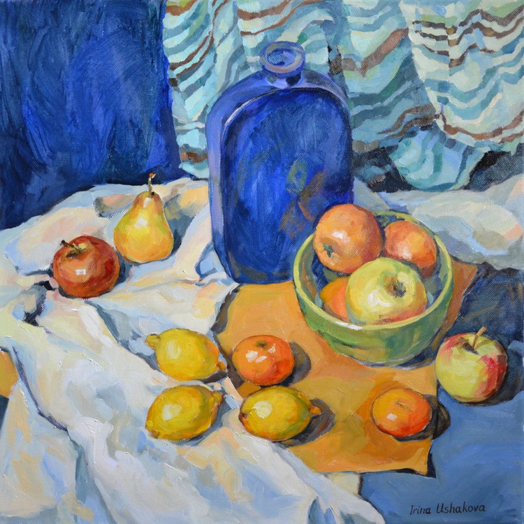 Fruits And A Blue Bottle. - Image 0