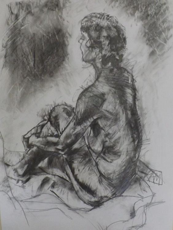 Seated female nude with knee raised - Image 0