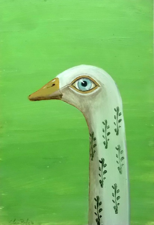 The goose on green background - oil on paper - Image 0