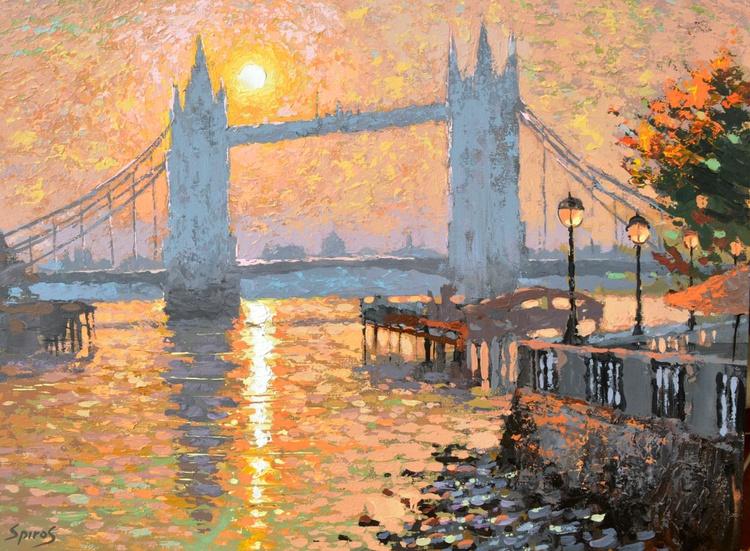 London's landscape by Dmitry Spiros, size 50 x 70 cm, (20 x 28 in). - Image 0