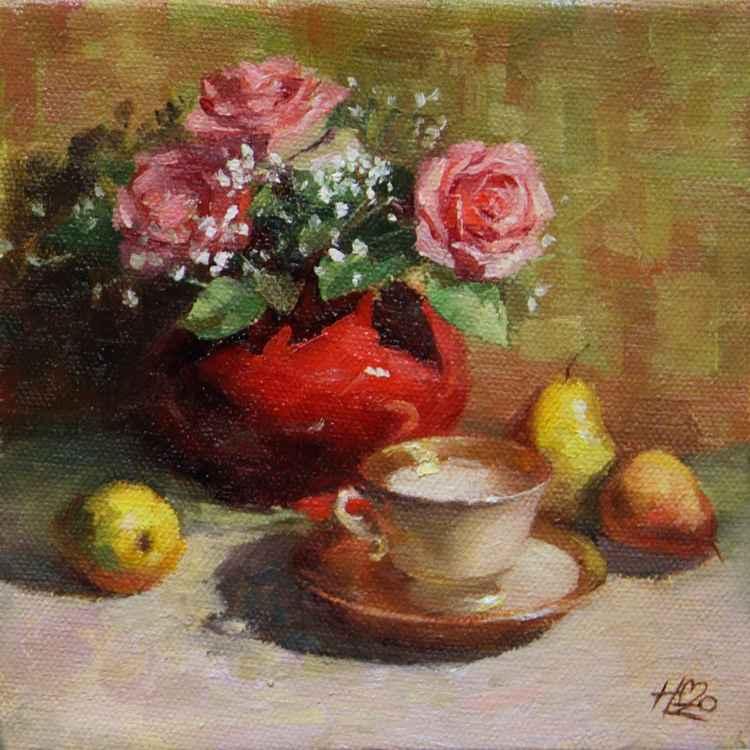"Tiny Red Vase 6"" x 6"" -"