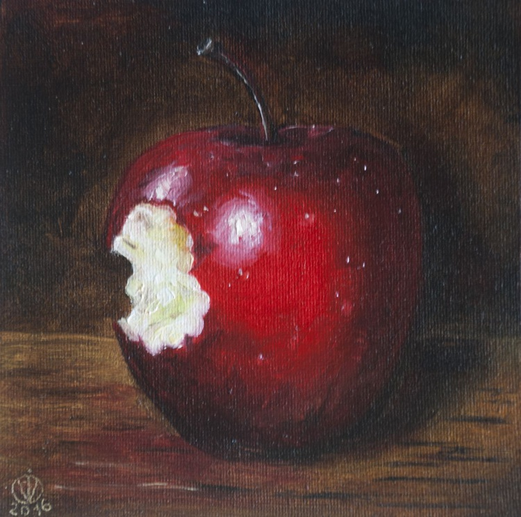 Red Apple (15x15cm) original oil painting still life realistic vintage style small gift kitchen decor - Image 0