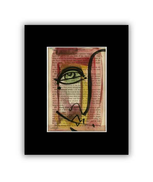"""I See 35"" on Antique Book Page - Abstract Watercolor Painting -"