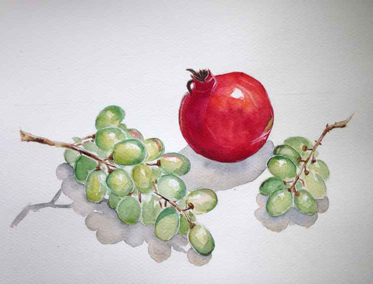 Still life with pomegranate and green grapes -