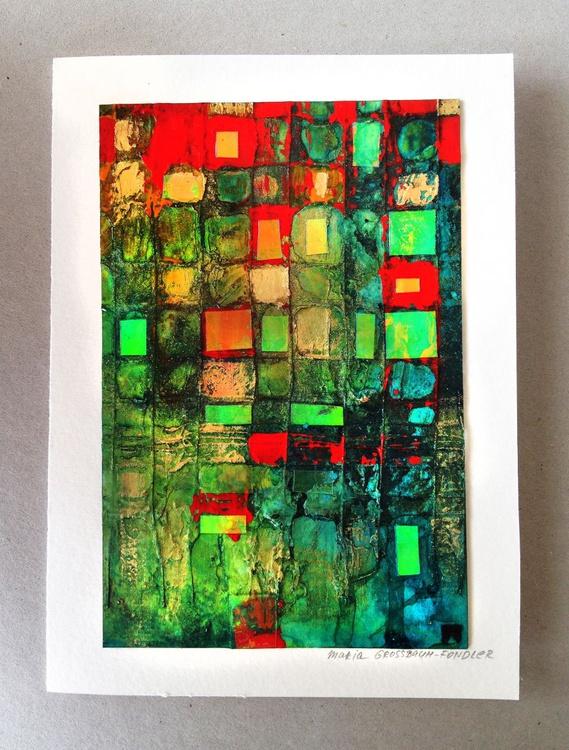 Original abstract painting, Green and Red Fantasy, Original mixed media art card - Image 0