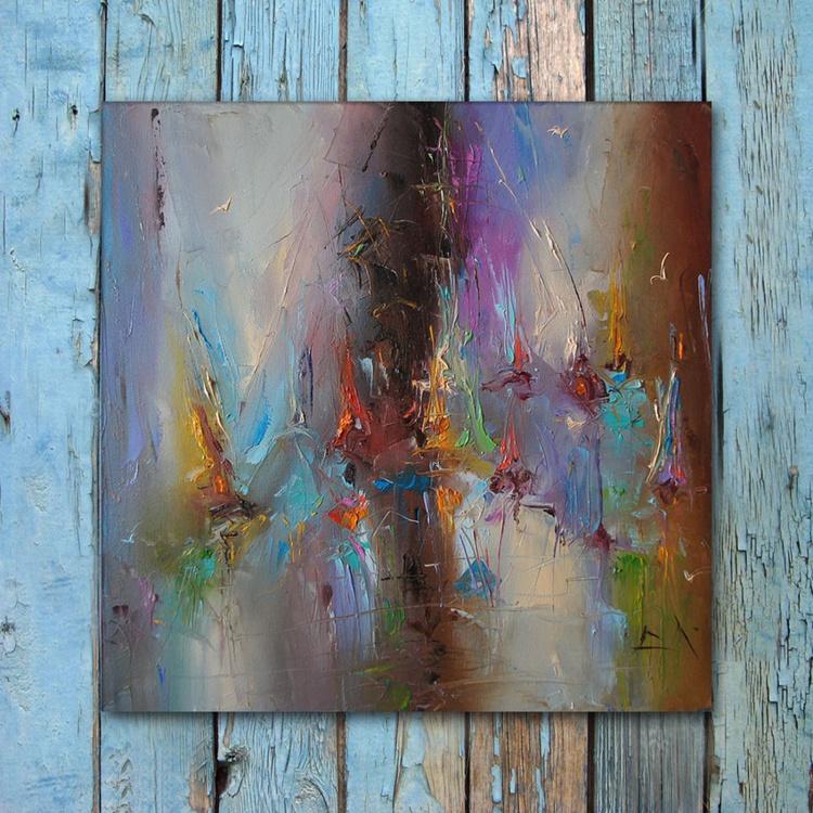Sea kites 2, Abstract Sailboats Oil Painting, Free Shipping - Image 0