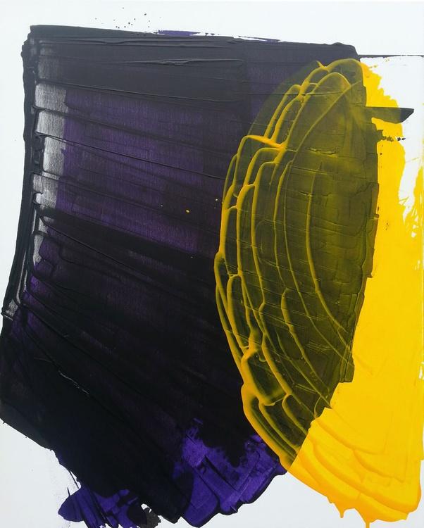 Interacting Colors: White, Black, Purple & Yellow #1 - Image 0