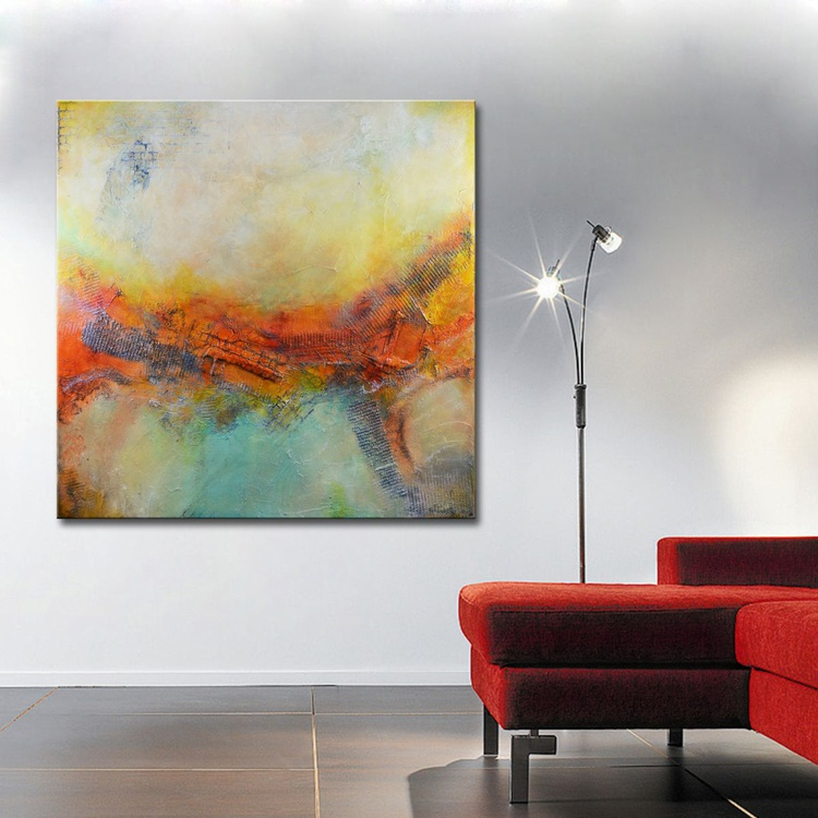 Abstract Painting, Large Abstract Painting, Textured Original Painting, Orange Red Painting by Andrada -36x36 - Image 0